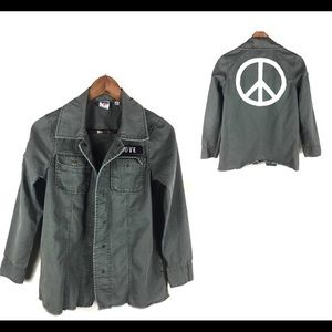 Junk Food Army Green Peace Sign Snap Jacket